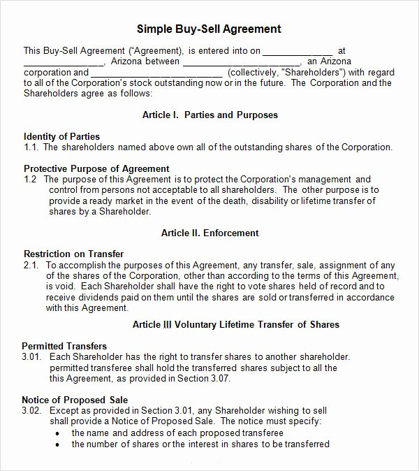 Sample Buy Sell Agreements Beautiful Free 20 Sample Buy Sell Agreement Templates In Word
