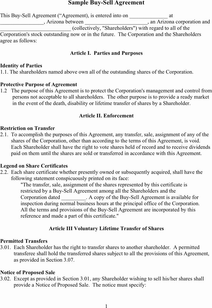 Sample Buy Sell Agreements Luxury Free Sample Buy Sell Agreement Doc 57kb