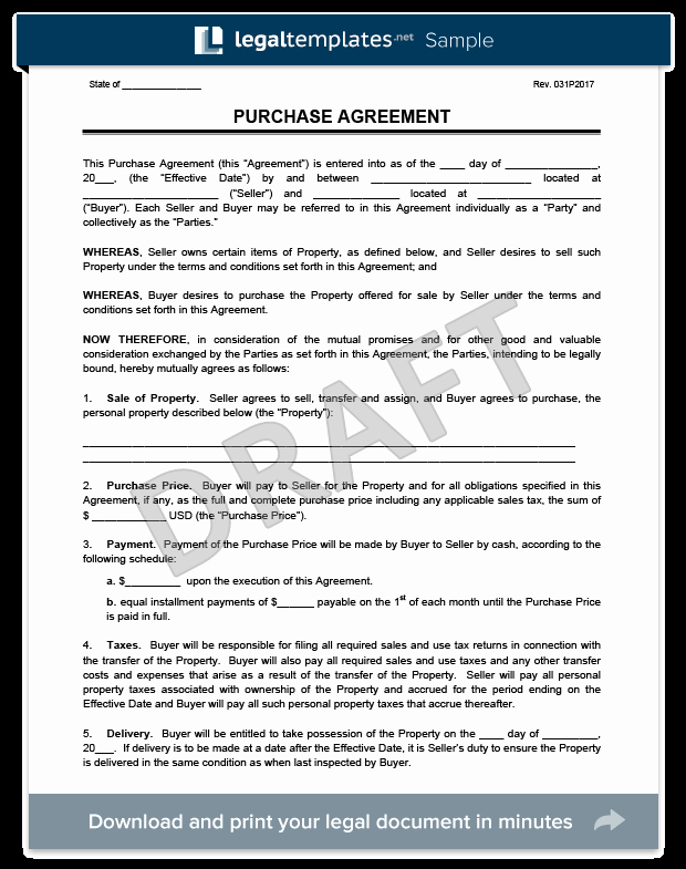 Sample Buy Sell Agreements New Purchase Agreement Template