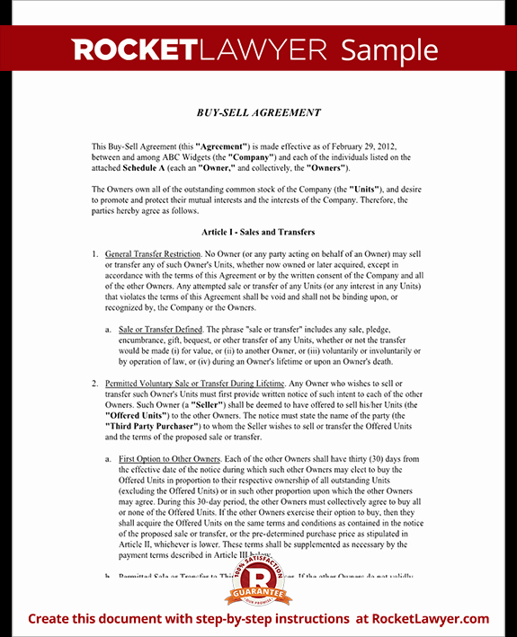 Sample Buy Sell Agreements Unique Buy Sell Agreement form Sample Buy Sell Agreement Template