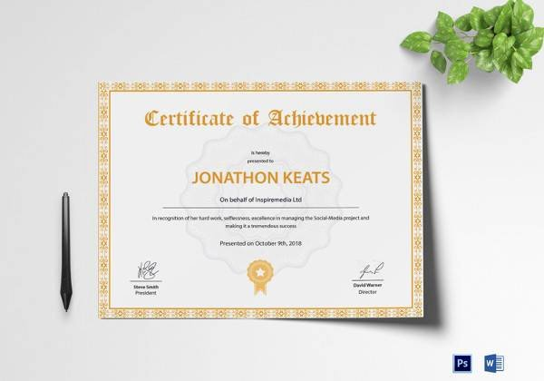 Sample Certificate Of Achievement Elegant 40 Best Certificate Of Achievement Templates In Illustrator