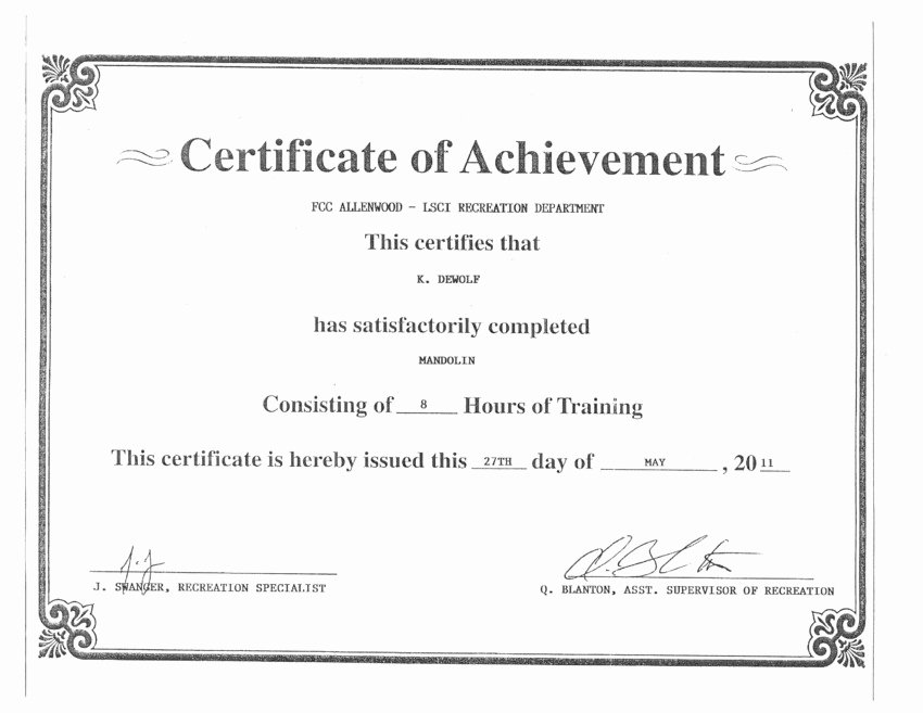 Sample Certificate Of Achievement Lovely Between the Bars Certificates Of Achievement — Kyle De Wolf