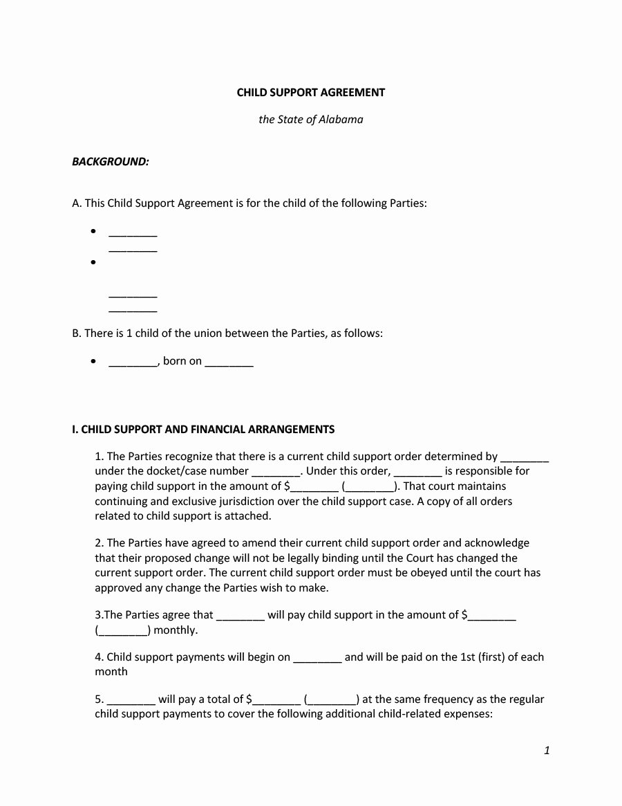 Sample Child Support Agreement Best Of 32 Free Child Support Agreement Templates Pdf & Ms Word