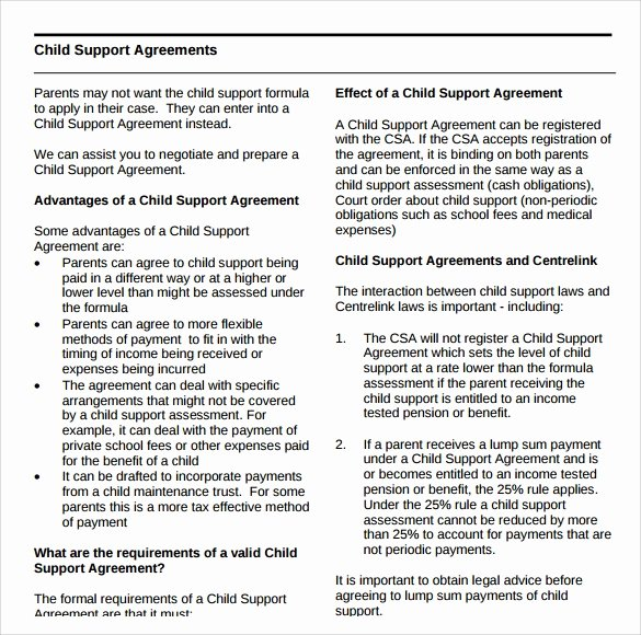 Sample Child Support Agreement Best Of Sample Child Support Agreement 5 Documents In Pdf Word