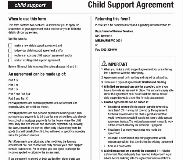 Sample Child Support Agreement Fresh 10 Child Support Agreement Templates Pdf Doc