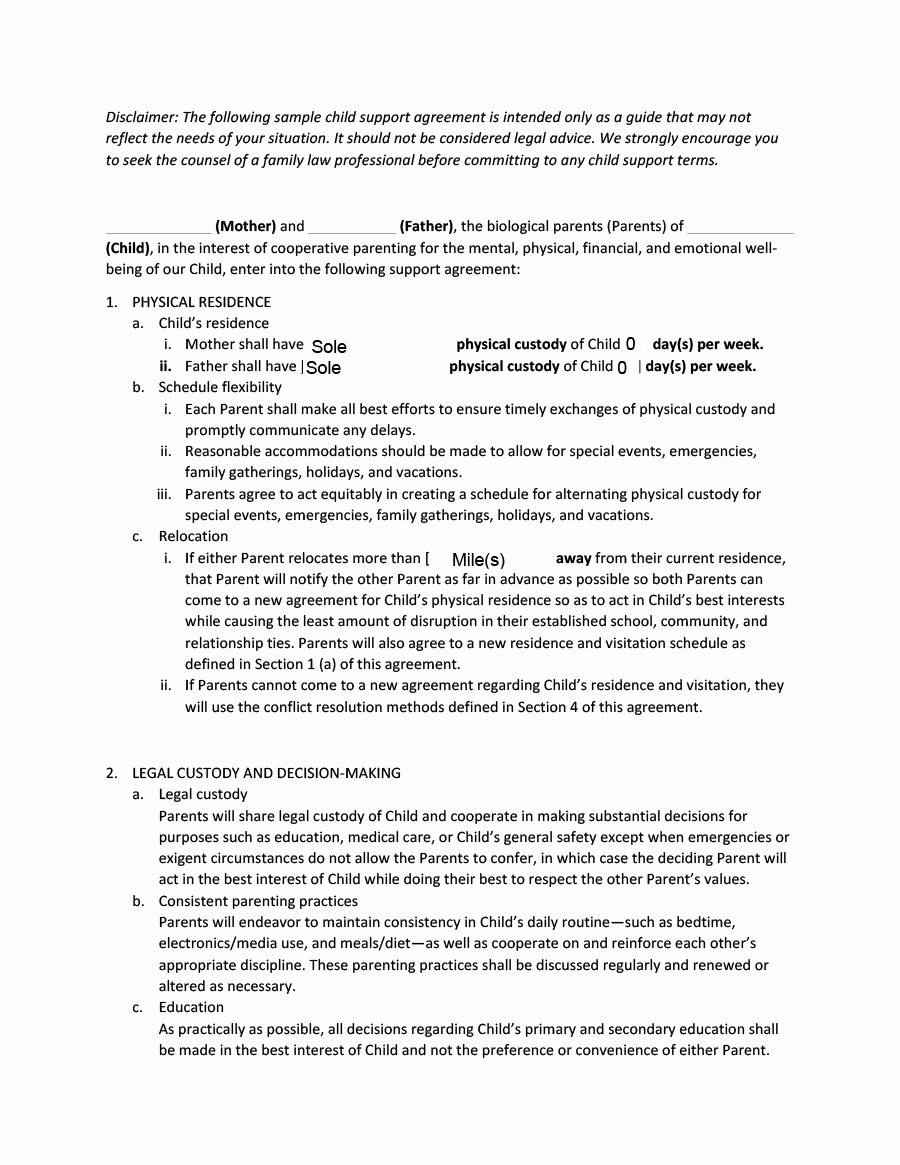Sample Child Support Agreement Unique 32 Free Child Support Agreement Templates Pdf & Ms Word