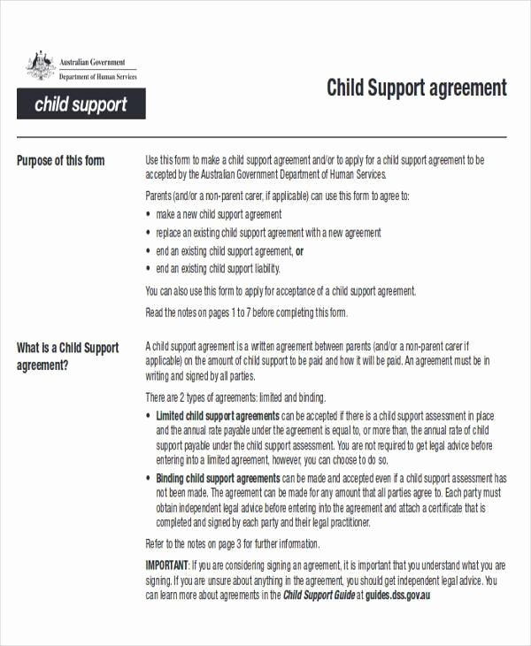 Sample Child Support Agreements Elegant Agreement Examples