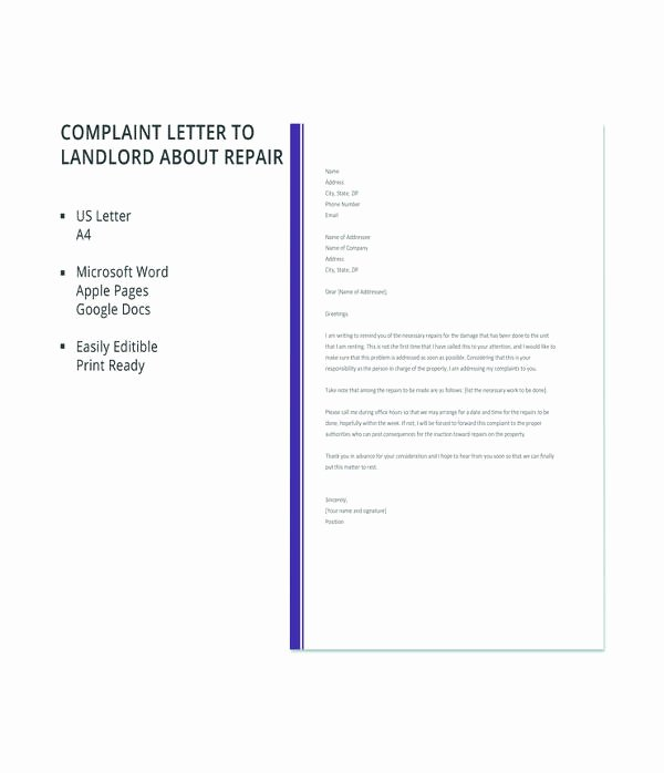 Sample Complaint Letter to Landlord Fresh 14 Plaint Letter to Landlord Free Sample Example format Download