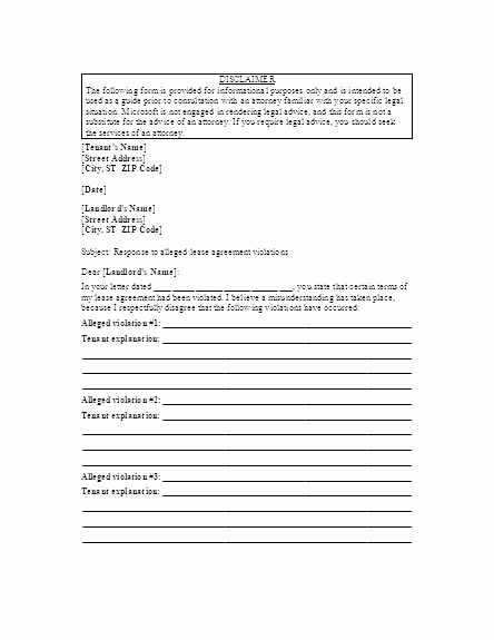 Sample Complaint Letter to Landlord New Letter to Landlord Responding to Alleged Lease Violations