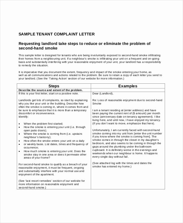 Sample Complaint Letters to Landlord Beautiful 9 Plaint Letters Free Sample Example format