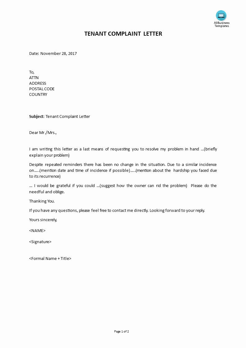 Sample Complaint Letters to Landlord Fresh Plaint Letter From Tenant