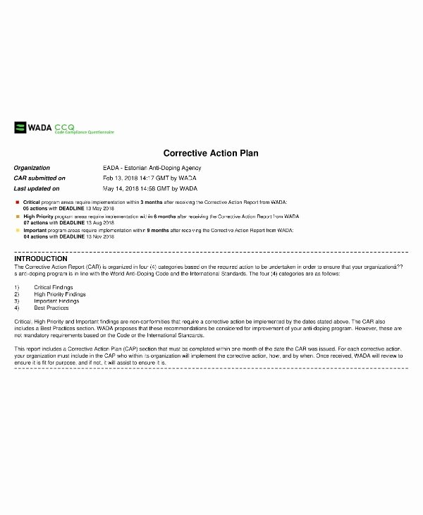 Sample Corrective Action Plan Awesome 14 Corrective Action Plan Templates & Samples Pdf