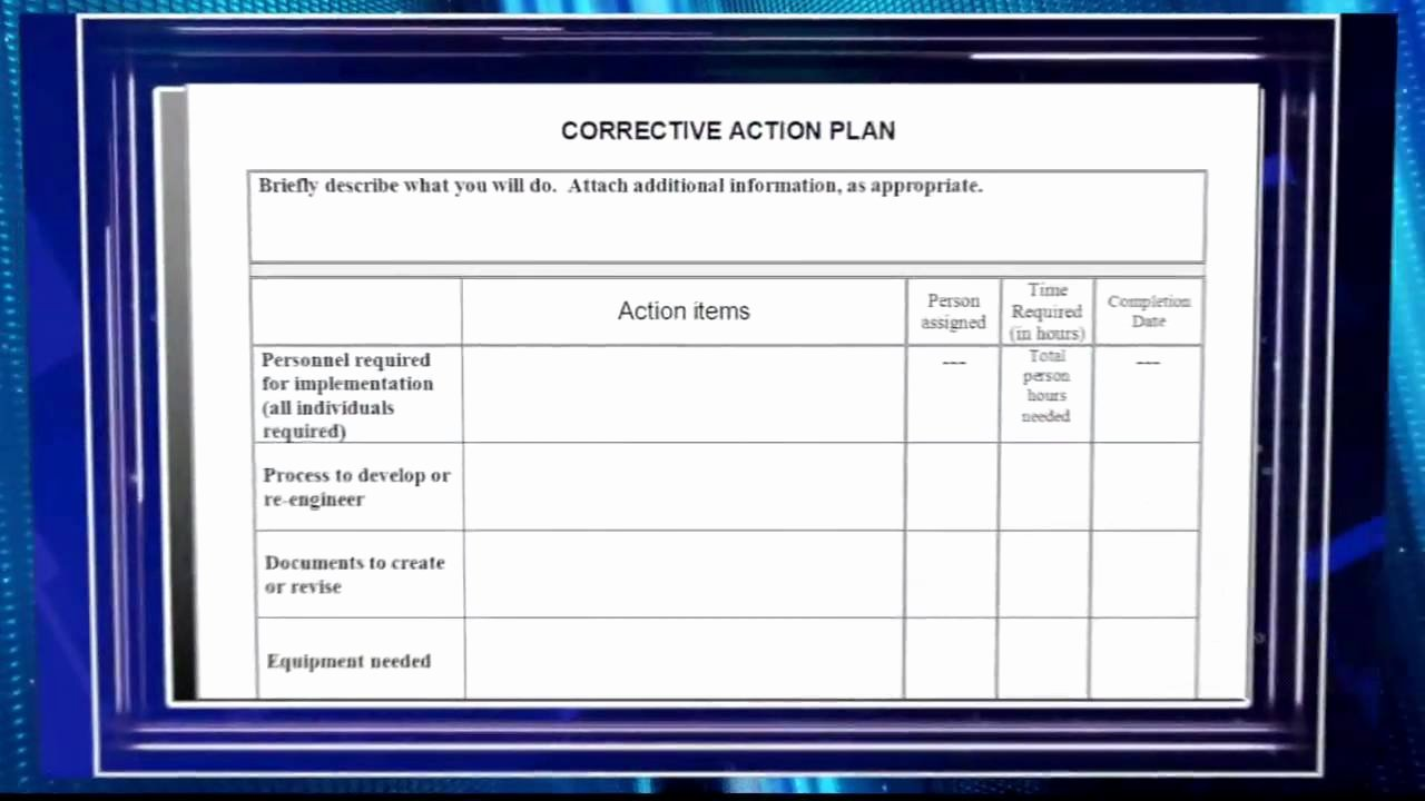 Sample Corrective Action Plan Fresh Creating A Corrective Action Plan Video Preview