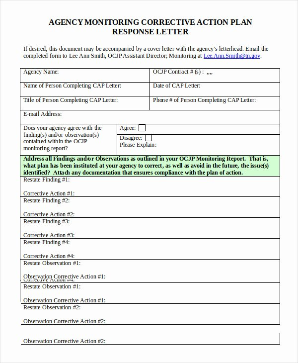 Sample Corrective Action Plan Unique Corrective Action Plan Template 16 Free Sample Example format