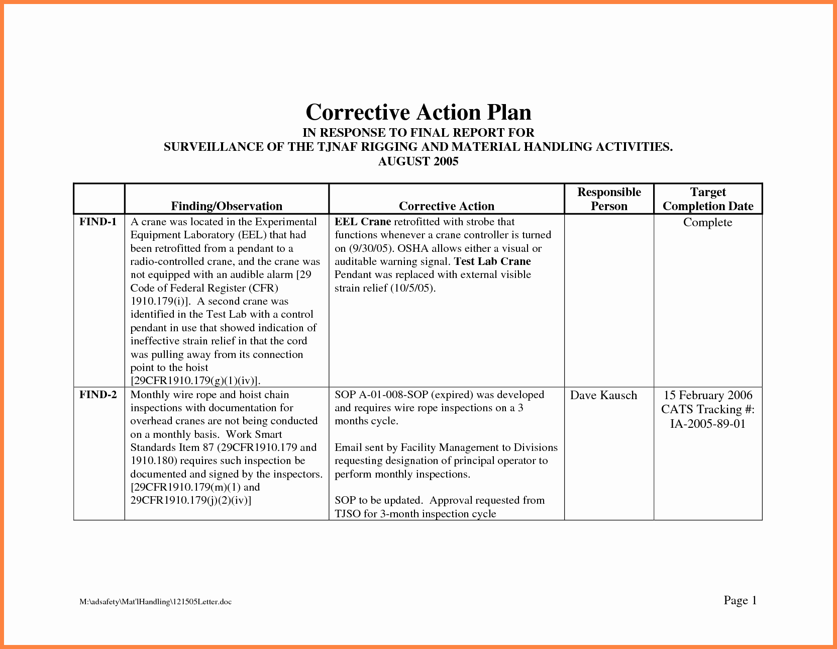 Sample Corrective Action Plan Unique Corrective Action Plan Template
