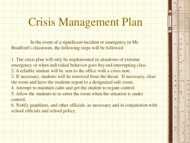 Sample Crisis Management Plan Elegant Scott Bradford Behavior Plan Summary