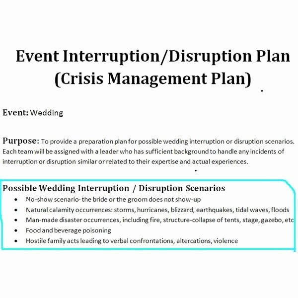Sample Crisis Management Plan Inspirational Sample Of A Crisis Management Plan for Wedding events