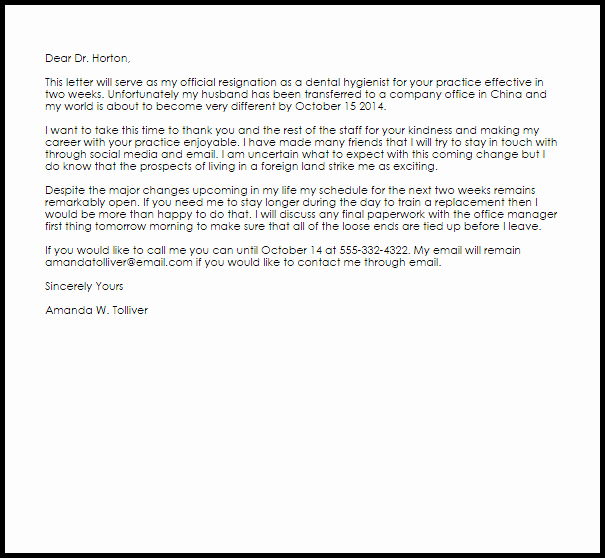 Sample Dental Letters to Patients Awesome Dental Hygienist Resignation Letter Example