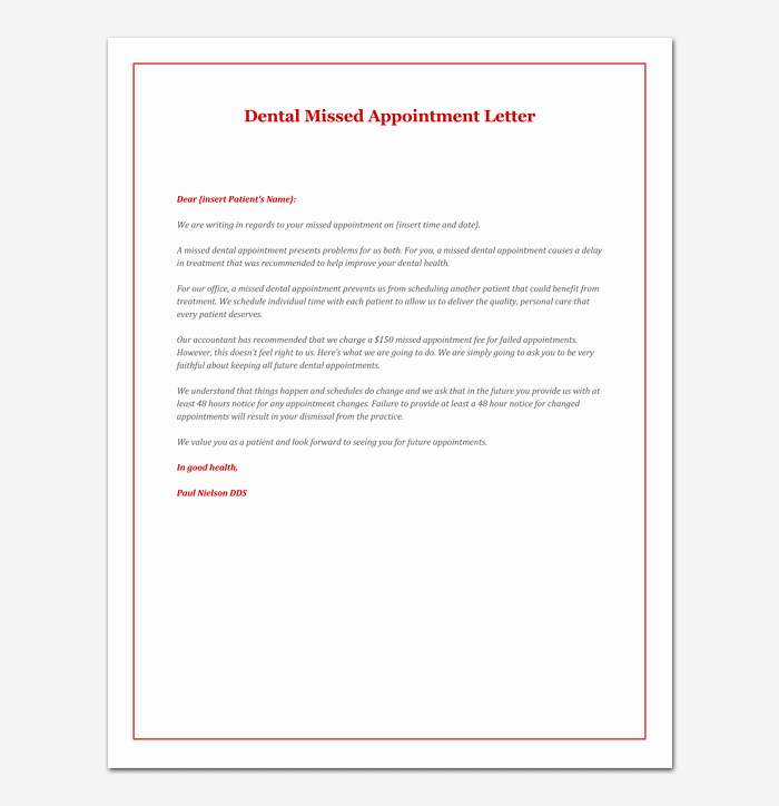 Sample Dental Letters to Patients Beautiful Missed Appointment Letter 10 Sample Letters