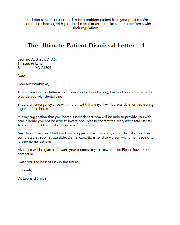 Sample Dental Letters to Patients Luxury the Ultimate Patient Dismissal Letter 1 the Madow Brothers