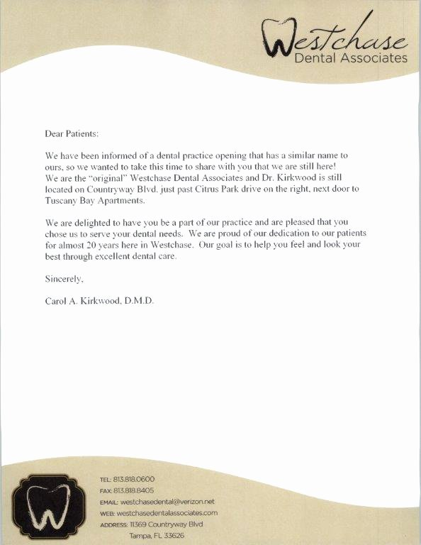 Sample Dental Letters to Patients Luxury Westchase Dental Letter to Patients