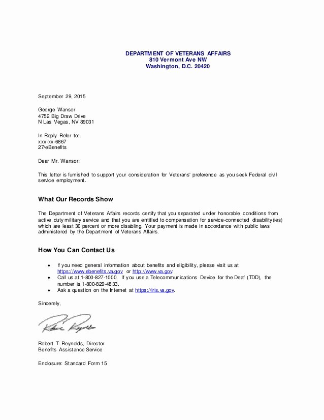 Sample Disability Letter From Doctor Fresh Va Pensation Disability Letter 1