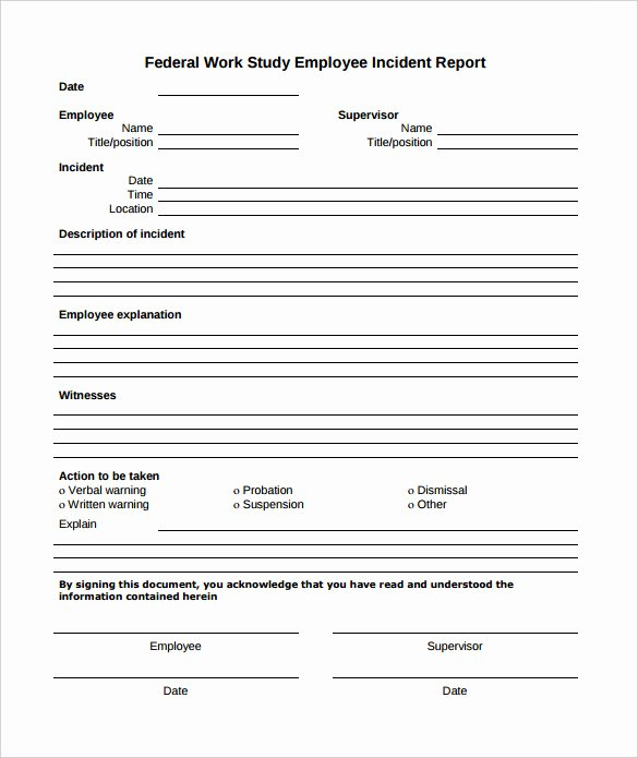 Sample Employee Incident Report Letter Awesome Employee Incident Report Sample