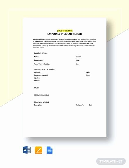 Sample Employee Incident Report Letter Fresh 16 Employee Incident Report Templates Pdf Word Pages