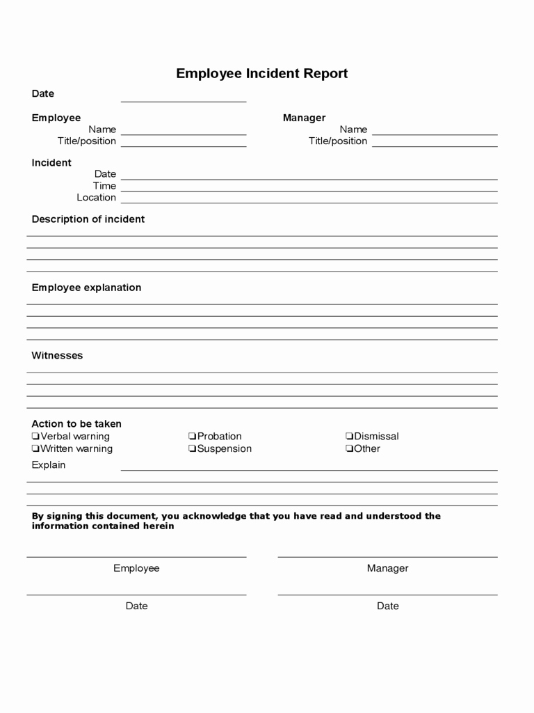 Sample Employee Incident Report Letter Fresh Employee Incident Report Pdf