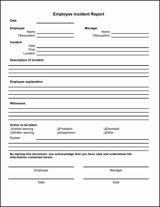 Sample Employee Incident Report Letter Fresh Generic Incident Report Template Business Baby