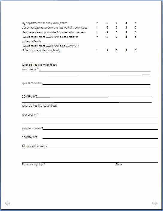 Sample Exit Interview form Fresh Exit Interview form format In Doc Pdf