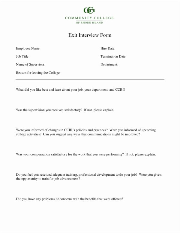 Sample Exit Interview form Inspirational Free 6 Exit Interview forms Samples & Templates In Pdf