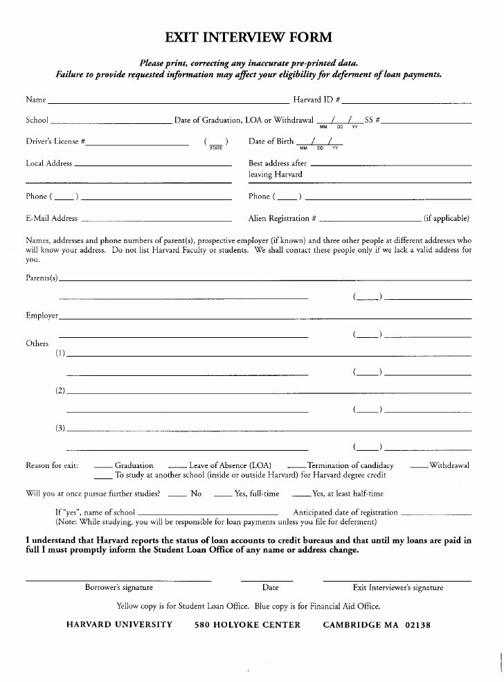 Sample Exit Interview form Inspirational Hr Exit Interview form