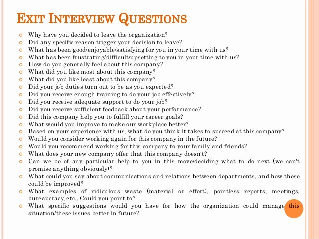 Sample Exit Interview form New Exit Interview