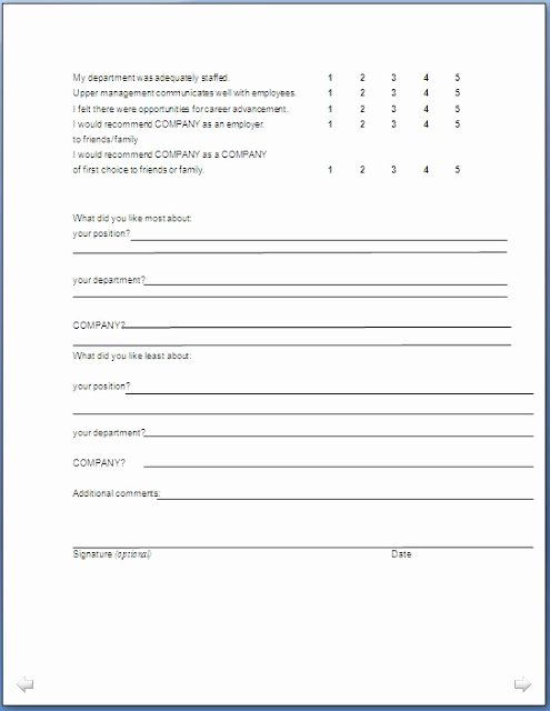 Sample Exit Interview format New Exit Interview form format In Doc Pdf