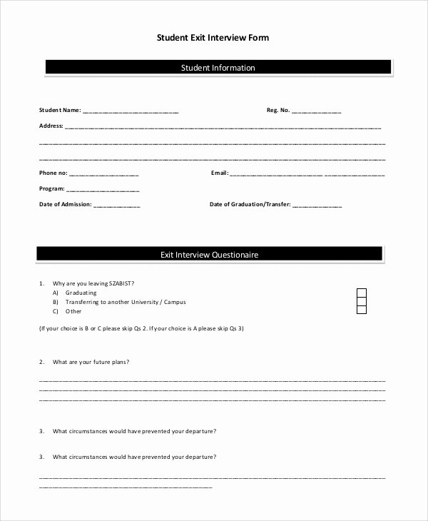 Sample Exit Interview format Unique Sample Exit Interview form 10 Examples In Pdf Word