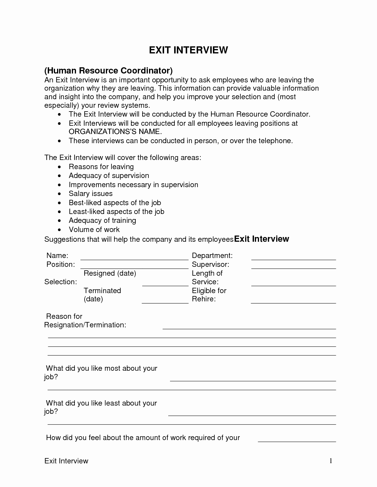 Sample Exit Interview forms Best Of Exit Interview Template