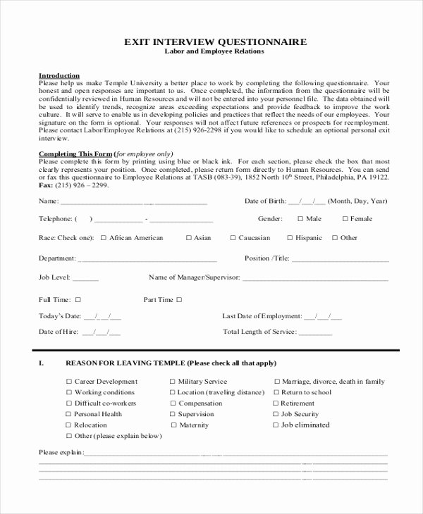 Sample Exit Interview forms Best Of Free 10 Sample Exit Interview forms In Pdf