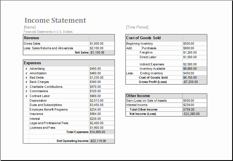 Sample Income Statement Excel Best Of In E Statement Template for Ms Excel