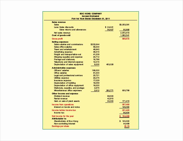Sample Income Statement Excel Fresh In E Statement Template 23 Free Word Excel Pdf format Download