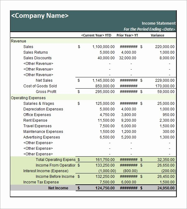 Sample Income Statement Excel Lovely Free 16 Free Sample In E Statement Templates In Pdf Word