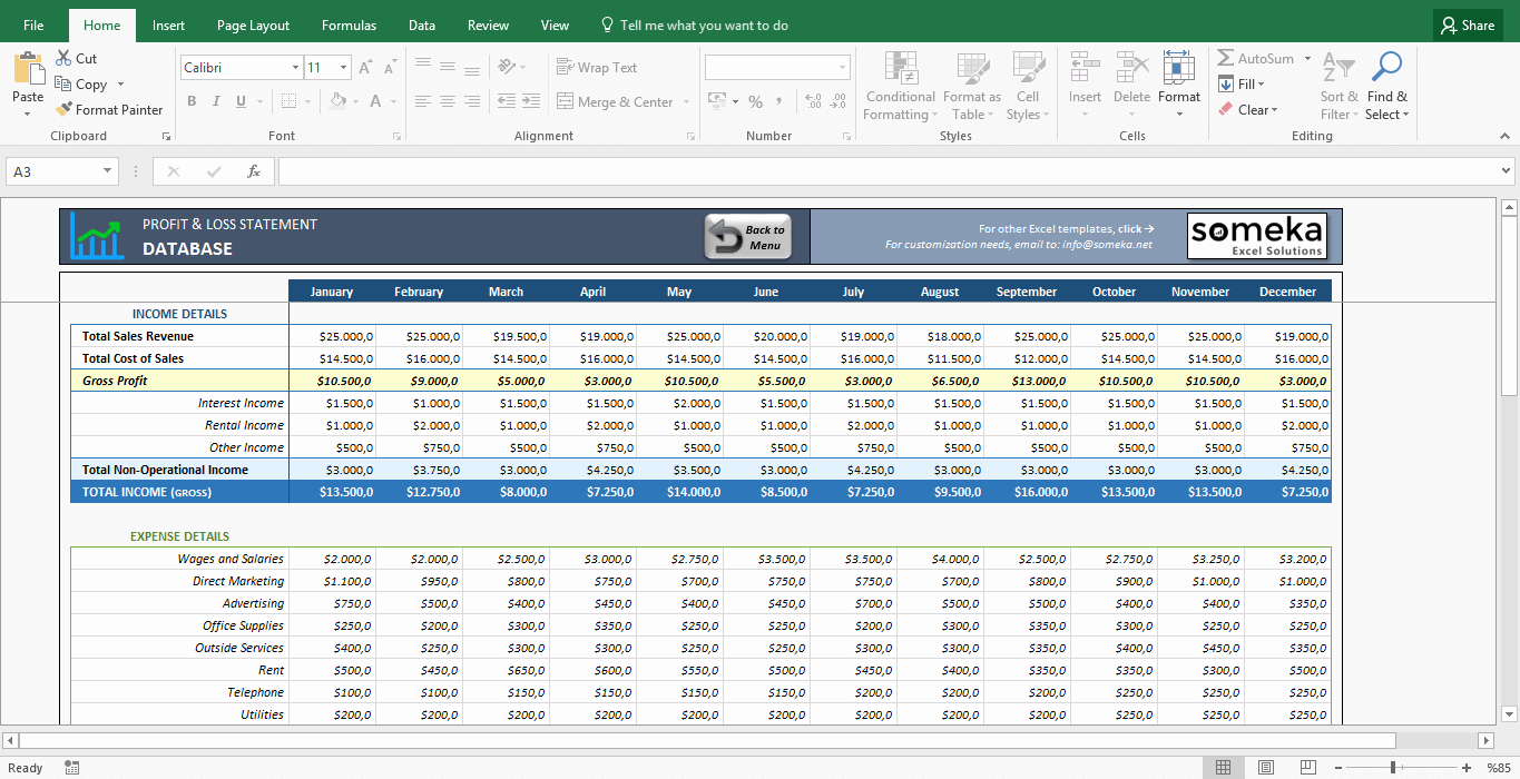 Sample Income Statement Excel New Profit and Loss Statement Template Free Excel Spreadsheet
