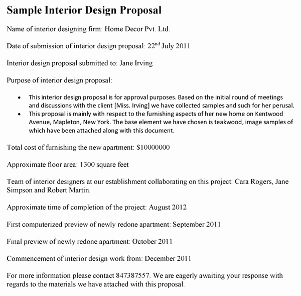 Sample Interior Design Proposal Best Of Interior Design Proposal Template