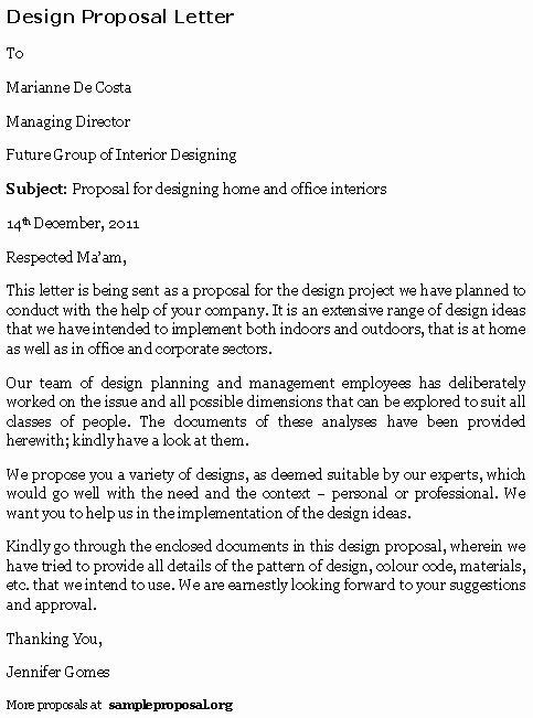 Sample Interior Design Proposal Elegant Design Proposal Letter
