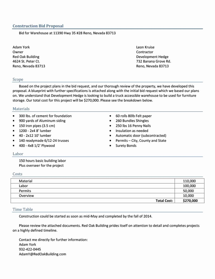 Sample Job Proposal Template Best Of 31 Construction Proposal Template & Construction Bid forms