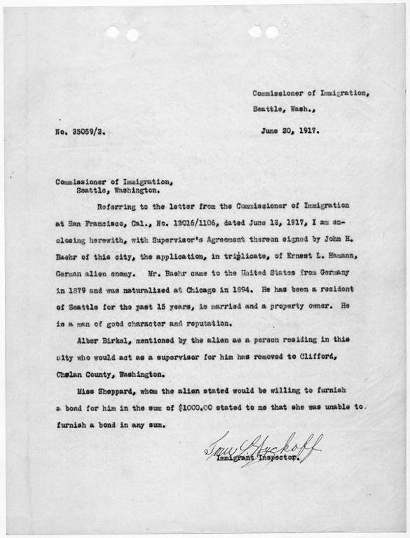 Sample Letter to Immigration Officer Awesome File Letter to Missioner Of Immigration Seattle Washington Regarding Ernst Hamann Nara