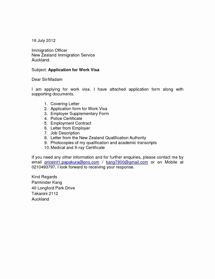Sample Letter to Immigration Officer Elegant Cover Letter for Visa Application New Zealand Essay Potna Make Youvisa Application Letter