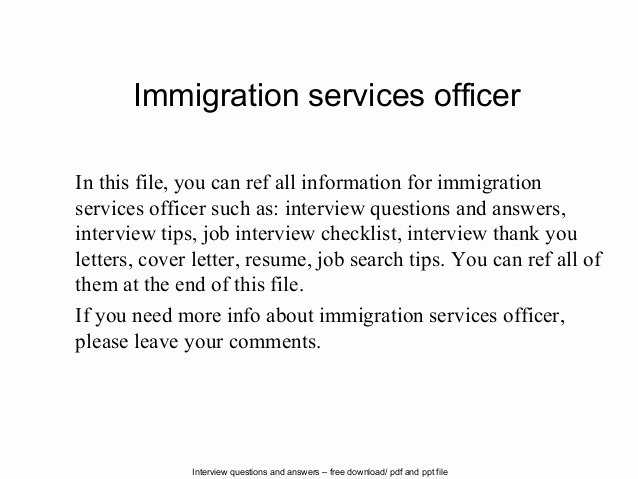 Sample Letter to Immigration Officer Luxury Immigration Services Officer