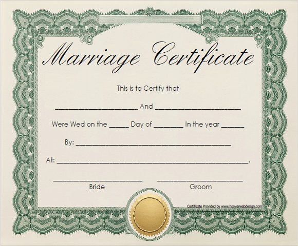 Sample Of Marriage Certificates Awesome Free 17 Sample Marriage Certificate Templates In Pdf