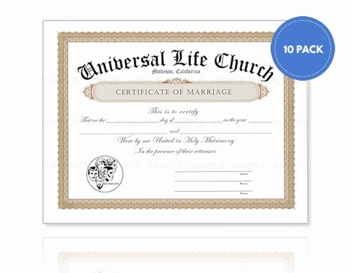 Sample Of Marriage Certificates Best Of Marriage Certificate 10 Pack